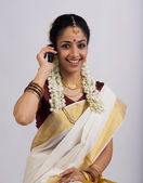 South Indian woman with cell phone — Stock Photo