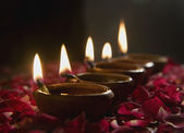 Lighted diyas — Stock Photo
