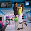 Couple at the bowling alley — Stock Photo