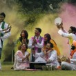 Stock Photo: Family celebrating Holi