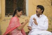 Rural couple joking — Stock Photo