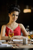 Woman in a restaurant — Stock Photo