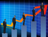 Businesspeople standing on a graph — Stock Photo