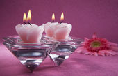 Decorative pink candles — Stock Photo