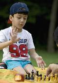 Boy playing chess at a picnic — Stock Photo