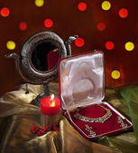 Jewelery set and diya — Stock Photo