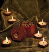 Box with nuts and diyas — Stok fotoğraf