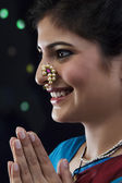 Maharashtrian woman smiling — Stock Photo