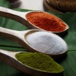Spices in wooden spoons — Stock Photo #42858101