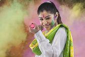 Woman with a pichkari — Stock Photo