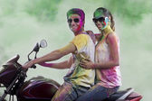 Couple posing on a motorcycle — Stock Photo