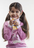 Girl having juice — Stock Photo