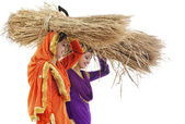 Sikh women with sickles and hay bales — Stock Photo