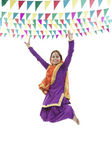 Sikh woman jumping in the air — Stock Photo