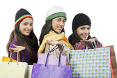 Girls with shopping bags posing — Stock Photo