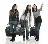 Girls with suitcases — Stock Photo