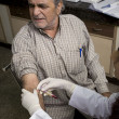 Doctor taking a blood sample from a man — Stock Photo