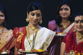Bengali women celebrating Durga puja — Stock fotografie