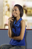 Girl talking on a mobile phone — Stock Photo