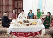 Muslim people having food during Id — Stock Photo