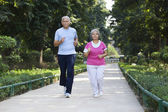 Old couple doing exercises — Stock Photo
