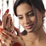 Indian bride wearing bangles — Stock Photo #46046013