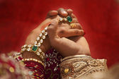 Groom holding brides hand — Stock Photo