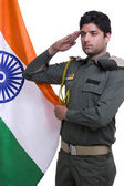 Security guard taking a pledge with Indian flag — Stock Photo