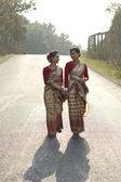 Bihu dancers talking — Stock Photo