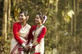Bihu women dancers smiling — Stock Photo