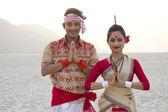 Bihu dancers greeting — Stock Photo