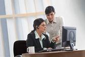 Irritated businesswoman and female executive — Stock Photo