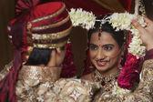 Bride and groom on wedding ceremony — Stock Photo