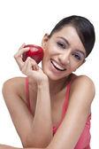 Jovem mulher com maçã fresca — Fotografia Stock