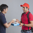 Delivery man delivering pizza — Stock Photo #51101819