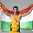 Male medalist with Indian flag — Stock Photo #51107491