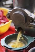 Juicer discharging lime juice — Stock Photo