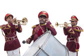Bandmasters playing on a trumpet — Stock Photo