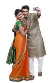 Maharashtrian couple  making self portrait — Stock Photo