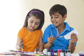 Cute siblings coloring — Stock Photo