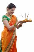 Maharashtrian woman praying — Stock Photo