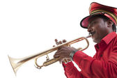 Bandmaster playing on a trumpet — Stock Photo