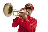 Bandmaster playing on a trumpet — Photo