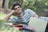 Student with a laptop — Stock Photo
