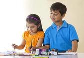 Cute siblings coloring — Stock Photo