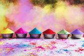 Bows of colorful Holi powder — Stock Photo