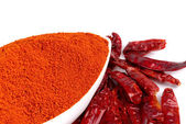 Chilly powder with red chilly — Stock Photo