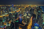 Aerial view of Dubai Marina, JBR and JLT — Stock Photo