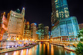 Night in Chicago River — Stock Photo