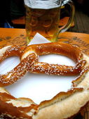 Beer and Pretzel — Stock Photo